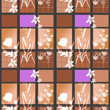 Patchwork seamless bright retro pattern with flowers background Royalty Free Stock Image