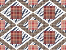 Patchwork seamless checkered pattern texture background with dec Stock Photo