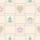 Patchwork seamless christmas pattern with elements background Royalty Free Stock Image