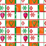 Patchwork seamless christmas pattern with elements background Stock Images