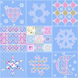 Patchwork seamless christmas pattern geometric elements backgrou Royalty Free Stock Photos