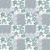 Patchwork seamless fgrey loral pattern Royalty Free Stock Photo