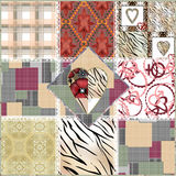 Patchwork seamless floral abstract elements pattern texture Royalty Free Stock Image