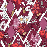 Patchwork seamless floral abstract pattern red, white  background. Royalty Free Stock Images