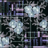 Patchwork seamless floral abstract pattern texture Royalty Free Stock Photo
