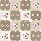 Patchwork seamless floral azalea pattern beige background Stock Images
