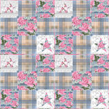 Patchwork seamless floral checkered pattern background Stock Photography