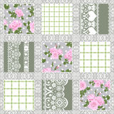 Patchwork seamless floral lace pattern. Background Stock Photo