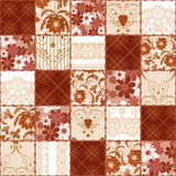 Patchwork seamless floral lace pattern background. Patchwork seamless floral brown lace pattern background Stock Images