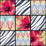 Patchwork seamless floral lilly pattern texture background Stock Image
