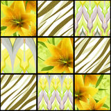 Patchwork seamless floral lilly pattern texture background Stock Images
