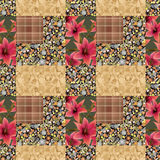 Patchwork seamless floral lilly pattern texture background eleme Royalty Free Stock Photos
