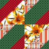 Patchwork seamless floral lilly pattern texture background with Royalty Free Stock Image