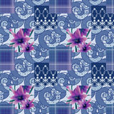 Patchwork seamless floral lilly pattern texture background with Stock Photography