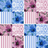 Patchwork seamless floral lilly pattern texture background strip Royalty Free Stock Photo