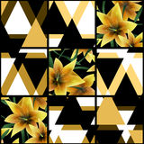 Patchwork seamless floral lilly pattern texture background with Stock Photo