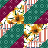 Patchwork seamless floral orange lilly pattern texture backgroun Royalty Free Stock Images