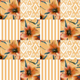 Patchwork seamless floral orange lilly pattern texture backgroun Royalty Free Stock Photography