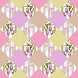 Patchwork seamless floral pattern background with decorative ele Stock Images