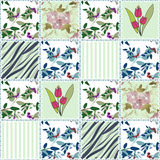 Patchwork seamless floral pattern background Royalty Free Stock Images