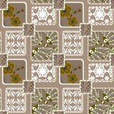 Patchwork seamless floral pattern beige background Royalty Free Stock Photos