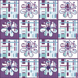 Patchwork seamless floral pattern with geometric elements backgr Royalty Free Stock Image