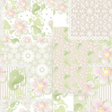 Patchwork seamless floral pattern with spring flowers Royalty Free Stock Photography