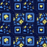Patchwork seamless floral pattern texture background. Seamless abstract pattern with flowers  green ornament stylish texture on blue background Stock Photos