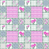 Patchwork seamless floral pattern tulips Royalty Free Stock Photography