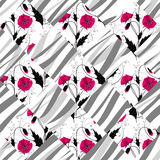 Patchwork seamless floral poppy pattern ornament background Royalty Free Stock Image