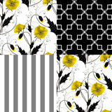 Patchwork seamless floral poppy pattern ornament background Royalty Free Stock Images