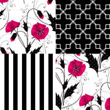 Patchwork seamless floral poppy pattern ornament background Stock Image