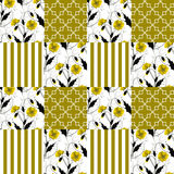 Patchwork seamless floral poppy pattern striped background Stock Image