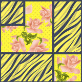 Patchwork seamless floral roses pattern texture background Stock Photography