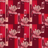 Patchwork seamless floral roses pattern texture background with Royalty Free Stock Photos