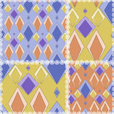Patchwork seamless geometrical pattern texture background with r Stock Photography