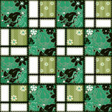 Patchwork seamless green pattern background with decorative elem Royalty Free Stock Photography
