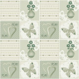 Patchwork seamless green pattern with flowers in vase, hearts an Stock Photos