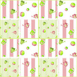 Patchwork seamless kids pattern with watering cans and balls on Royalty Free Stock Photo