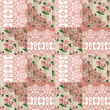 Patchwork seamless lace floral pattern Stock Photos