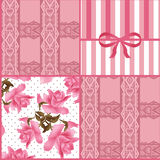 Patchwork seamless lace floral pattern background Royalty Free Stock Photo