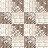 Patchwork seamless lace floral pattern on beige Stock Image