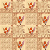 Patchwork seamless lace floral pattern with tulips background Royalty Free Stock Image
