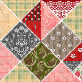 Patchwork seamless lace retro floral pattern Royalty Free Stock Photo