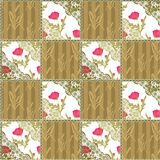 Patchwork seamless lace retro floral pattern Stock Photos