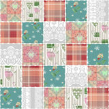 Patchwork seamless lace retro flowers pattern Royalty Free Stock Image