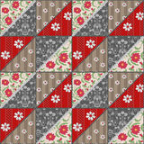 Patchwork seamless lace retro red flowers pattern. Background Royalty Free Stock Images