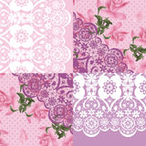 Patchwork seamless lacy retro pink floral pattern Stock Image