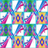 Patchwork seamless ornamental pattern with bright colors Royalty Free Stock Image
