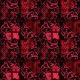 Patchwork seamless passion red black floral lace ornamental patt. Ern background Stock Photos